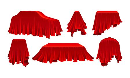 Objects Covered with Red Silk Cloth Vector Set. Different Items Hidden Under Bright Drapery Concept