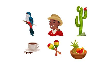Cuba Attributes and Stuff with Cactus Plant and Exotic Bird Vector Set. Man Smoking Cigar and Smiling