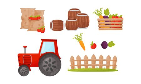 Farming and Harvesting Products with Fruits and Vegetables Vector Set. Organic and Eco Food Production Concept