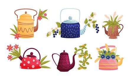 Ornamental Teapots with Flowers and Twigs Peeped out From Spouts Vector Set