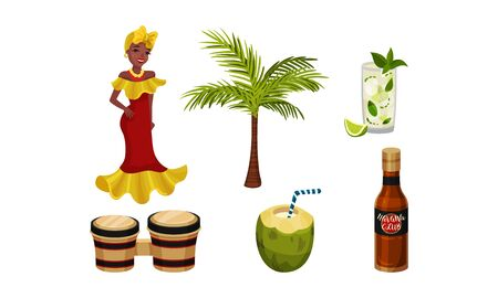 Cuba Attributes and Stuff with Mojito Drink and Drums Vector Set