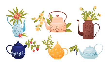 Ornamental Teapots with Flowers and Twigs Peeped out From Spouts Vector Set Vetores