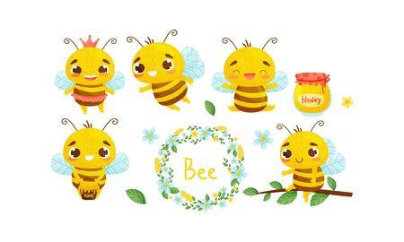 Cute Striped Bee Characters Gathering Honey in Pots Vector Set