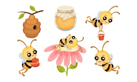 Cartoon Bee Character and Honey Isolated on White Background Vector Set