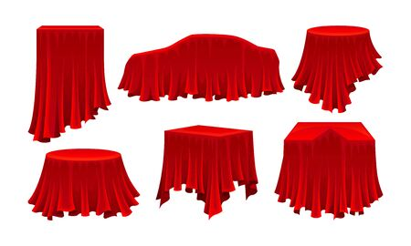 Objects Covered with Red Silk Cloth Vector Set