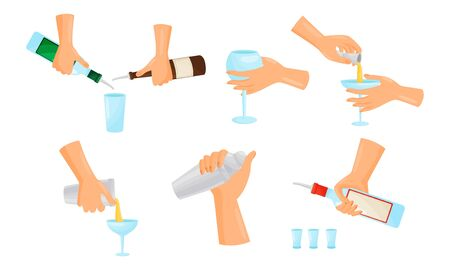 Bartender Hands Pouring and Mixing Cocktails Isolated on White Background Vector Set