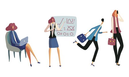 Running, Talking by Phone and Presenting Diagram Office Female Employee or Businessswoman Vector Illustrations Set. Busy Office Scenes and Business Process Concept 일러스트