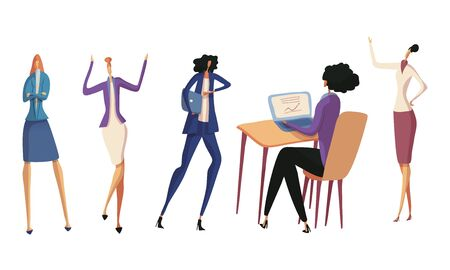 Hurrying Up and Sitting in Front of Laptop Office Female Employee or Businessswoman Vector Illustrations Set