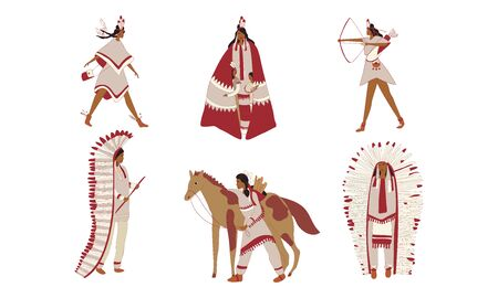 Red Indians Wearing Broad Clothing with Feathers Vector Set. Traditional Headwear and Weapons of Native Americans Vettoriali