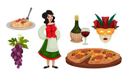 Italy Landmarks and Distinguishing Objects Like Pasta and Pizza Vector Set. Famous Touristic Italian Symbols