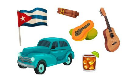 Cuba Attributes and Stuff with Cigars and Guitar Vector Set