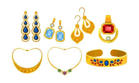 Golden Earrings and Necklace with Precious Stones Vector Set