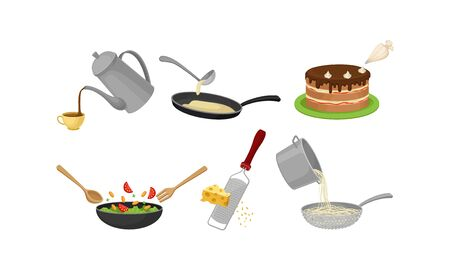 Cooking Process with Mixing Salad, Making Pancakes and Grating Cheese Vector Set. Food Preparation Concept
