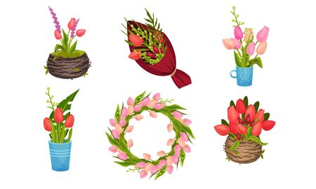 Bouquets of Tulips Wrapped in Pack Paper and Flowerpot Vector Set. Wreath of Colorful Spring Flowers. Floral Decorative Elements Concept