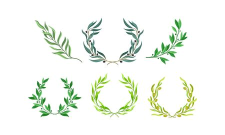 Wreaths of Leaves and Branches with Separate Twigs Vector Set Ilustracja