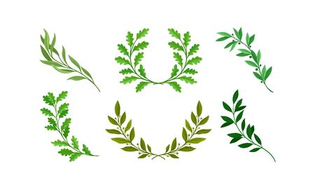 Wreath of Leaves and Branches with Separate Twigs Vector Set