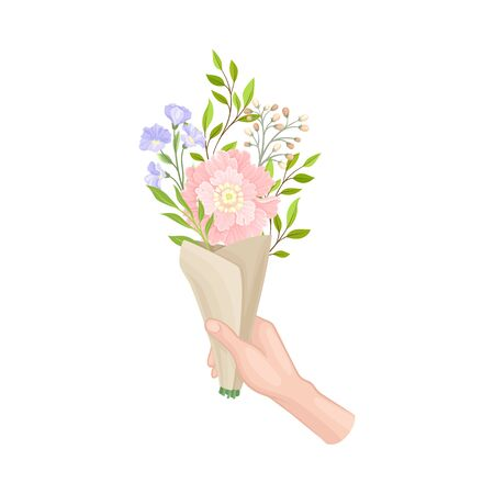 Flower Bouquet Wrapped in Brown Paper Kept by Hand Vector Illustration. Blossoming Spring Flora and Tender Gift Concept