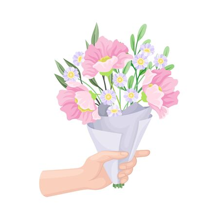 Bouquet of Blossoming Flowers in Craft Paper Wrapping Clutched in Hand Vector Illustration. Tender Floral Bloom as Spring Coming Sign