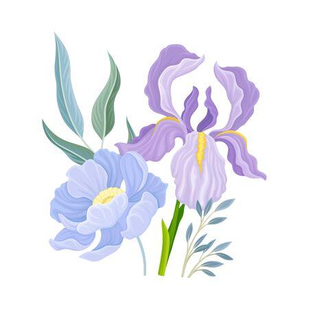 Floral Composition with Iris Flower on Green Erect Stem Vector Illustration. Botanical Floristic Arrangement Concept Illustration