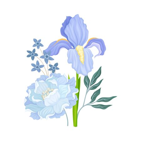 Floral Composition with Iris Flower on Green Erect Stem Vector Illustration. Botanical Floristic Arrangement Concept Ilustração