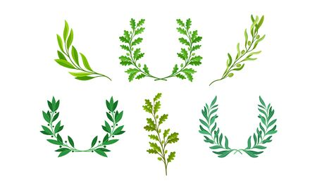 Wreaths or Chaplets of Leaves and Branches with Separate Twigs Vector Set