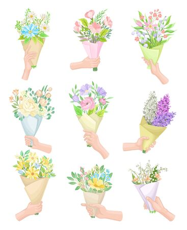 Hands Holding Flower Bouquets Wrapped in Craft Paper Vector Set. Blossoming Spring Flora Concept
