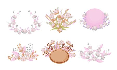 Cotton Compositions with Blossomed Buds and Twigs Vector Set