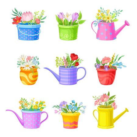 Bunch of Flowers Standing in Bright Buckets and Watering Cans Vector Set Vector Illustration