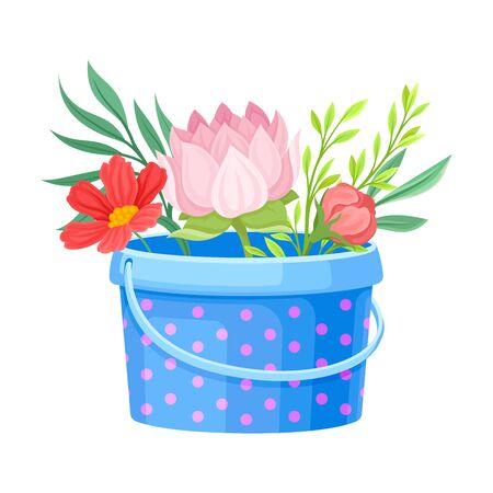 Showy Flowers Standing in Garden Bucket Vector Illustration