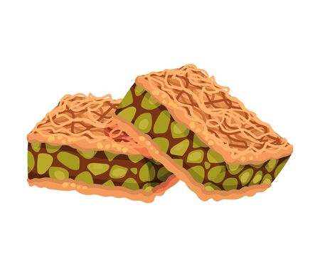 Arabic Turkish Delight or Pastry with Nut Filling Vector Illustration. Oriental Sweet and Dessert Made from Dough and Sugar Concept Vettoriali