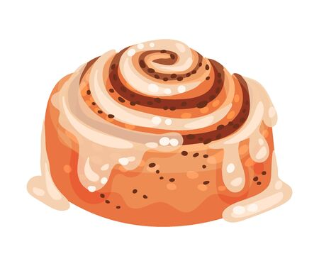 Sweet Rolled Pastry with Cinnamon and Creamy Topping Vector Food Element. Baked Starchy Foods Concept