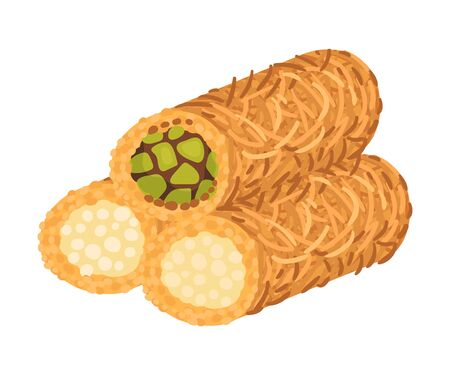 Arabic Cake with Cut into Sticks Dough Vector Illustration. Oriental Pastry and Dessert Made from Dough and Sugar Concept