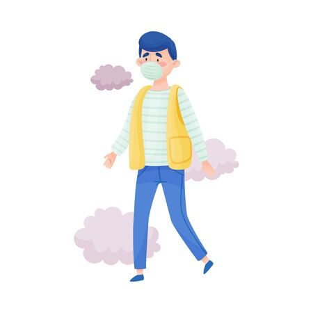 Young Man Walking Wearing Safety Mask Because of Bad Air and Dust Vector Illustration. Polluted Environment and Health Protection Concept
