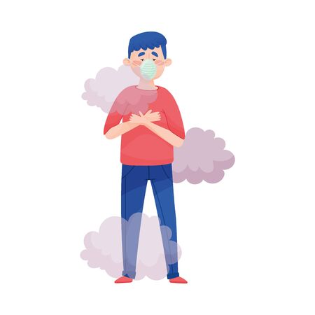 Young Man Standing in Smoke Wearing Safety Mask Because of Bad Air and Dust Vector Illustration. Polluted Environment and Health Protection Concept