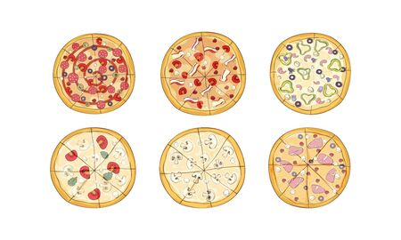 Cut Up Pizza with Different Ingredients Top View Vector Set. Pizzeria Menu Concept 向量圖像