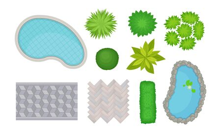 Landscape Gardening Elements with Bushes and Pool Top View Vector Set Illustration