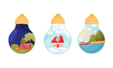 Landscapes and Scenes Inside Glass Bulb Vector Set