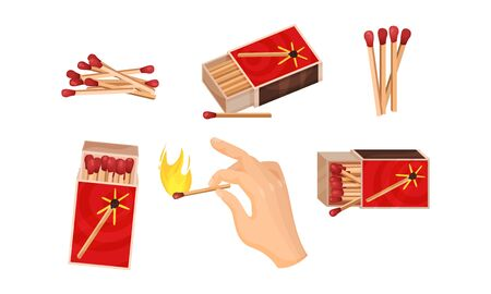 Matchboxes with Matches Inside and with Hand Striking a Match Vector Set