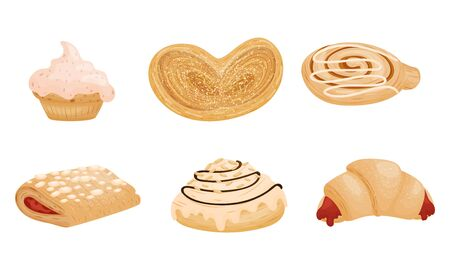 Sweet Pastry and Flour Products Like Creamy Doughnut and Stuffed with Jam Croissant Vector Set