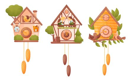 Fairy House Shaped Wall Mounted Clocks with Hanging Fir Cones and Birds Vector Set
