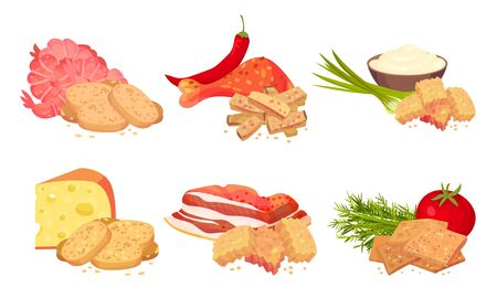 Croutons with Various Flavours Arranged with Products Like Bacon and Cheese Vector Set