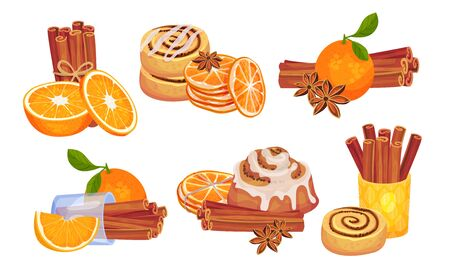 Cinnamon Sticks and Orange Fruit Compositions Vector Set. Spice and Citrus Aromatic Combination Concept Vektorgrafik