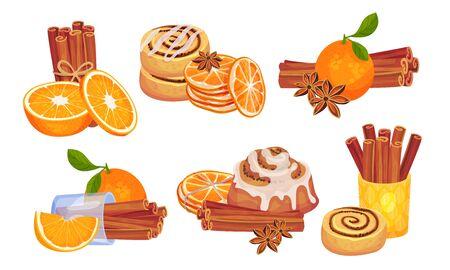 Cinnamon Sticks and Orange Fruit Compositions Vector Set. Spice and Citrus Aromatic Combination Concept Ilustracje wektorowe