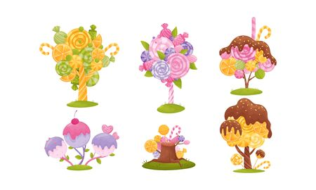 Cartoon Sweet Candy Trees Isolated on White Background Vector Set Ilustração