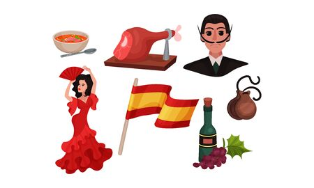 Spain Landmarks and Symbols with Flag and Woman Dancing Flamenco Vector Set
