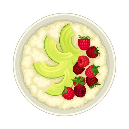 Oatmeal in Bowl with Berries Top View Vector Illustration 일러스트
