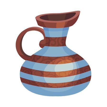 Vaso vacío de cerámica o jarrón con rayas ilustración vectorial