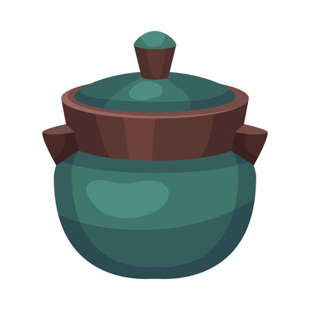 Ceramic Vessel or Container with Lid Vector Illustration