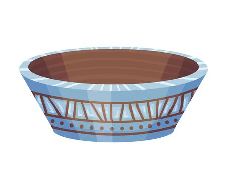 Ceramic Empty Vessel or Container with Design Vector Illustration