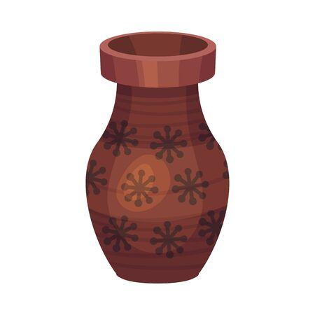 Ceramic Vessel or Vase with Design and Wide Neck Vector Illustration Ilustración de vector